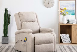 vidaXL Rozkładany fotel masujący, kremowy, tkanina248697