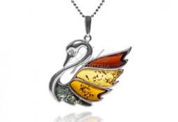 Biżuteria srebrna z kolorowym naturalnym bursztynem ŁABĘDŹ