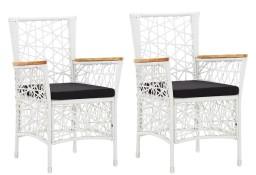 vidaXL Krzesła ogrodowe z poduszkami, 2 szt., polirattanowe, białe45999