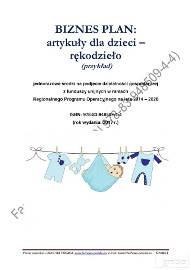 BIZNESPLAN - artykuły dla dzieci - rękodzieło ze sklepem www