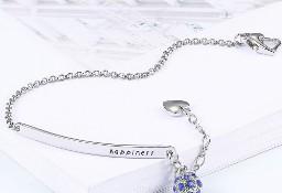 Nowa bransoletka srebrny kolor niebieskie cyrkonie kulka serce charms bead