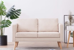 vidaXL Sofa 2-osobowa, materiałowa, kremowa281351