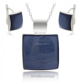 Komplet biżuteria srebrna z granatowym kamieniem
