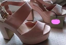 (40) NEXT/ Rożowe sandałki na koturnie, sandały, koturny/ jak NOWE