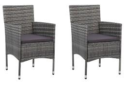 vidaXL Krzesła ogrodowe, 2 szt., rattan PE, szare 46180