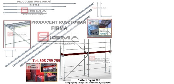 Poręcz Barierka 2,5m do rusztowania Sigma70P - Każdy Typ