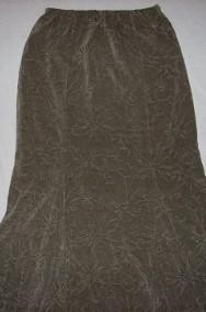 Długa Spódnica Ciepła Khaki Welur 42 XL 40-2