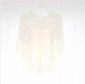 Delikatna zwiewna bluzka H&M S 36 biała kremowa top retro koronka szyfon