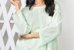 Nowa tunika indyjska XXL 44 bawełniana pastelowa zielona miętowa kameez kurta Bollywood haft
