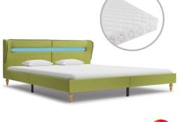 vidaXL Łóżko LED z materacem, zielone, tkanina, 180 x 200 cm 278372