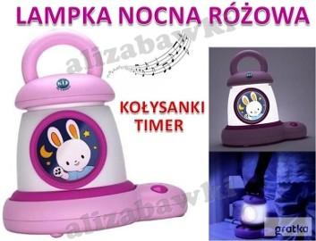 Lampka Nocna Latarka 2w1 Zasilacz Ładowarka Timer Kołysanki Różowa Zaj
