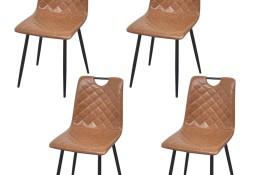 vidaXL Krzesła stołowe, 4 szt., jasnobrązowe, sztuczna skóra243018