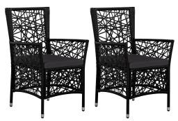vidaXL Krzesła ogrodowe z poduszkami, 2 szt., polirattan, czarne 44089