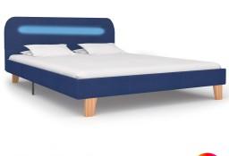 vidaXL Rama łóżka z LED, niebieska, tapicerowana tkaniną, 140 x 200 cm 280903