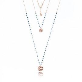 Piękny naszyjnik srebrny pozłacany różowym złotem z kryształkami w kolorze Montana