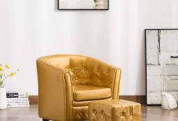 vidaXL Fotel klubowy z podnóżkiem, złoty, sztuczna skóra248024
