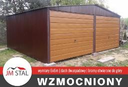 Garaż blaszany 6x6m | bramy uchylna - szeroki trapez | dach dwuspadowy