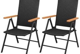 vidaXL Sztaplowane krzesła ogrodowe, 2 szt., polirattan, czarne 42798