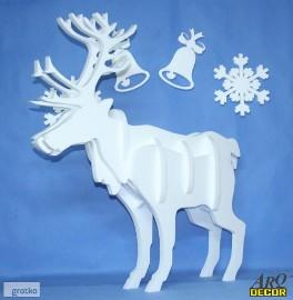 Składany Renifer - Styropianowe Dekoracje Świąteczne, Boże Narodzenie