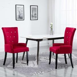 vidaXL Krzesła stołowe z podłokietnikami, 2 szt., czerwone, aksamitne276920