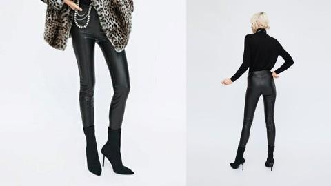 (38) ZARA/ Czarne, skórzane legginsy, spodnie, rurki/ NOWE z metką