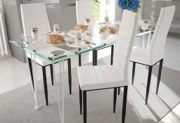 4 wysokie białe krzesła do jadalni + stół ze szklanym blatem271691