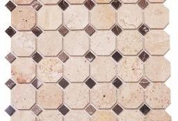 Mozaika Podwójna Marmurowa TRAWERTYN BEIGE/ALICANTE 30,5x30,5x1
