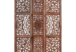 vidaXL Parawan 3-panelowy, rzeźbiony, brązowy 120x165 cm, drewno mango285338