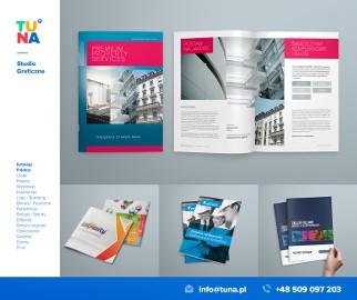 Projekt ulotki reklamowej, skład dtp katalogu, grafika reklamowa, logo