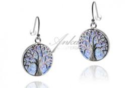 Kolczyki srebrne z niebieskim opalem drzewka szczęścia