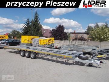 LT-075 przyczepa 850x210, ciężarowa laweta aluminiowa, 3 osiowa, do 2 pojazdów, najazdy aluminiowe, przygotowana pod podłogę, DMC 3500kg