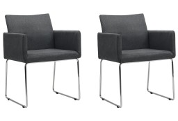 vidaXL Krzesła stołowe, 2 szt., ciemnoszare, tkanina246856