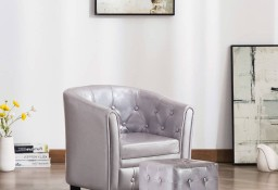 vidaXL Fotel klubowy z podnóżkiem, srebrny, sztuczna skóra248020