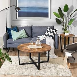 Stolik kawowy w stylu industrialnym z okrągłym blatem. Loft, nowoczesny, ława