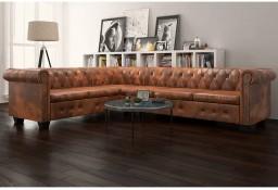 vidaXL Sofa rogowa Chesterfield sześcioosobowa brązowa, sztuczna skóra243618