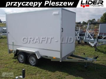 TM-183 przyczepa 300x150x180cm, Box 3015/2, kontener, fourgon, 2 osie, drzwi tylne dwuskrzydłowe, DMC 750kg