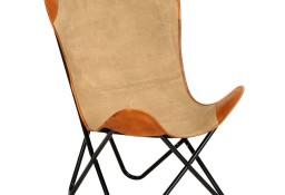 vidaXL Krzesło motyl, brązowe, skóra naturalna 283770