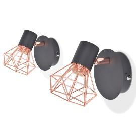 vidaXL Lampy ścienne, 2 szt., E14, czarno-miedziane 244388