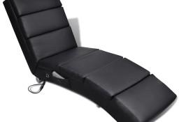 vidaXL Rozkładany fotel masujący, czarny, sztuczna skóra240968