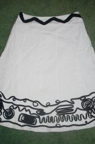 Marks&Spencer Lniana Biała spódnica Czarny Wzór LEN 40 42 L XL-2