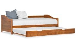 vidaXL Wysuwane łóżko, miodowy brąz, drewno sosnowe, 90x200 cm 283153