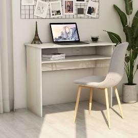 vidaXL Biurko, wysoki połysk, białe, 90x50x74 cm, płyta wiórowa 801176