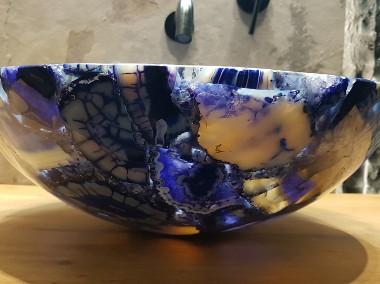 Luksusowa umywalka z kamieni półszlachetnych niebieskich agatów-1