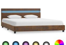 vidaXL Rama łóżka z LED, brązowa, tapicerowana tkaniną, 160 x 200 cm 284808