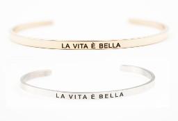 """2 X """"LA VITA E BELLA"""" Oszałamiająca bransoletka """"ŻYCIE JEST PIĘKNE"""""""