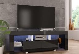 vidaXL Szafka pod TV ze światłem LED, błyszcząca, czarna, 130x35x45cm283735