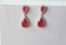 Nowe kolczyki wiszące królewskie retro eleganckie czerwone kamienie kryształki