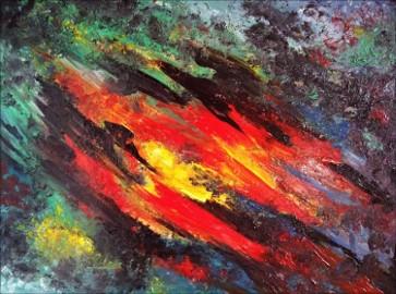 Kompozycja abstrakcyjna - sprzedam obraz olejny na płótnie