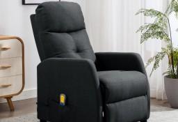 vidaXL Rozkładany fotel masujący, ciemnoszary, tapicerowany tkaniną289827