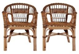 vidaXL Krzesła ogrodowe, 2 szt., naturalny rattan, brązowe 275842